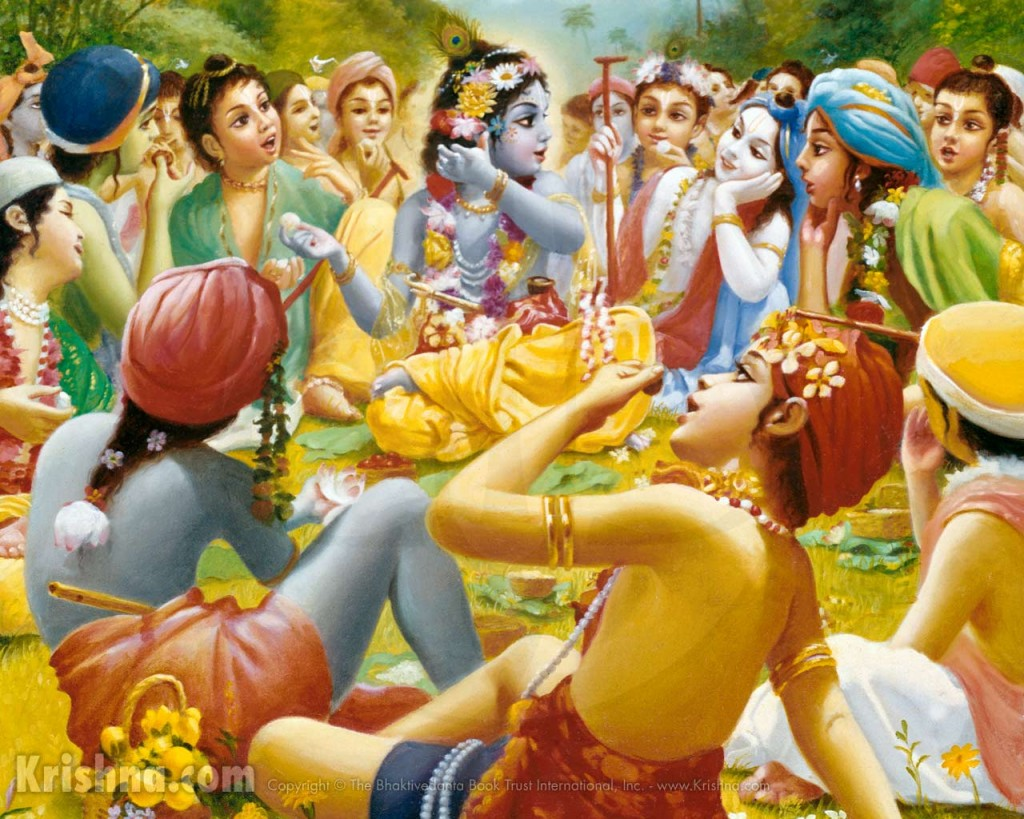 Krishna eats lunch with the cowherd boys